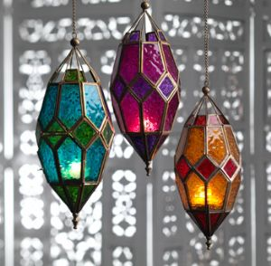 Lantern~Small Hanging Moroccan Style Lantern Tonal Glass~Fair Trade by Folio Gothic Hippy LT34